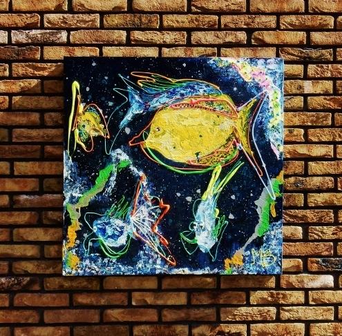 expressief, dynamisch schilderij, kleurrijk abstracte kunst, 3d schilderij, expositie, vissen