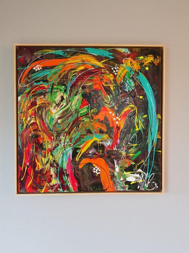 abstracte kunst, modern schilderij, kleurrijk schilderij, oranje schilderij, groen kunstwerk, moderne kunst, schilderij woonkamer, schilderij keuken, abstract kunstwerk, kunstenaar zwolle, kunst kopen, cadeau kopen