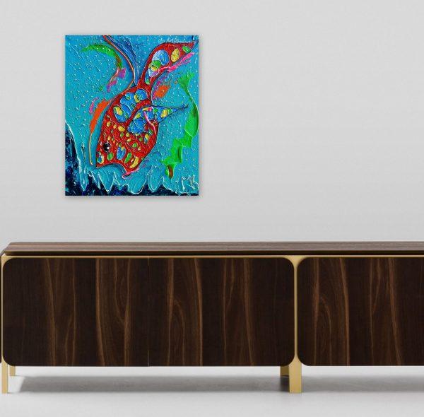 kleurrijk schilderij, moderne kunst, vrolijk schilderij, dierenschilderij, blauw, rood, woonkamer, eetkamer, wonen, kamer, interieur, leefruimte, kantoor, hal, kunst, wooninrichting, accessoires