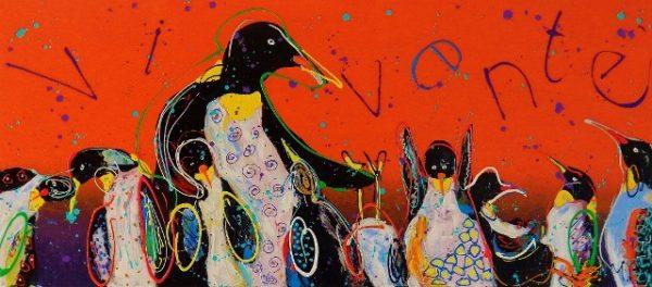 zakelijke opdracht, vrolijk schilderij in opdracht, stichting, onderwijs, vivente, cultuur, pinguïns, oranje