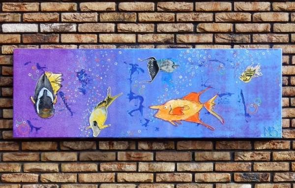 oranje, geel, blauw,abstract, dieren, schilderij, kunst, interieur, vrolijk