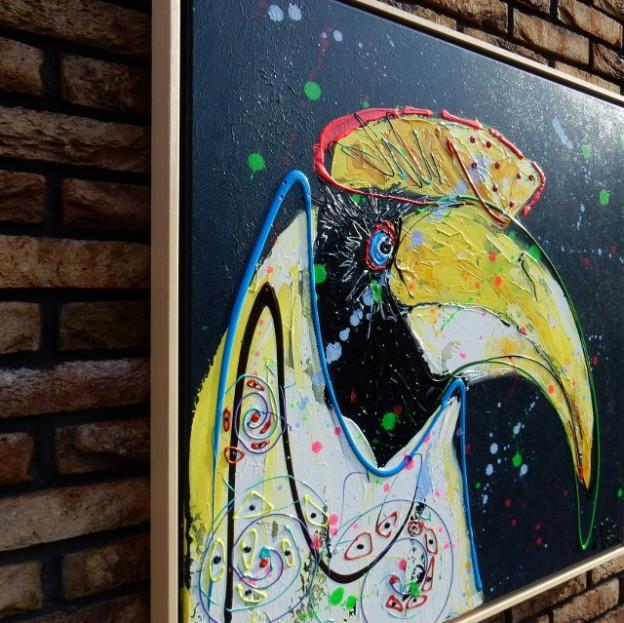 grijs, vogel, dierenschilderij, vrolijk, 3d schilderij, kleurrijke kunst, vrolijke schilderijen, kunst uit zwolle, exposities, schilderij in opdracht laten maken, workshops, teambuilding, creatieve teambuilding