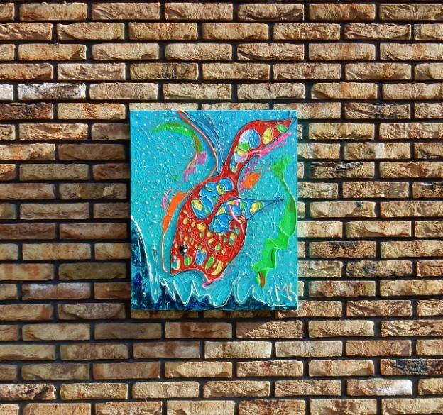 blauw, rood, abstract, dieren, schilderij, kunst, interieur, vrolijk, vis