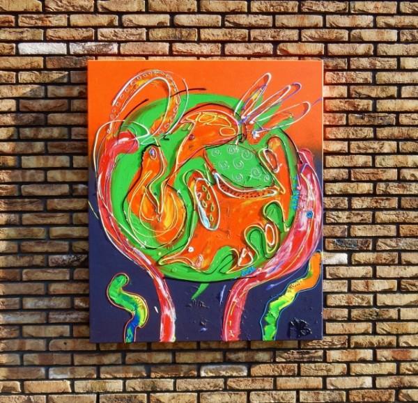 paars, oranje, abstract schilderij