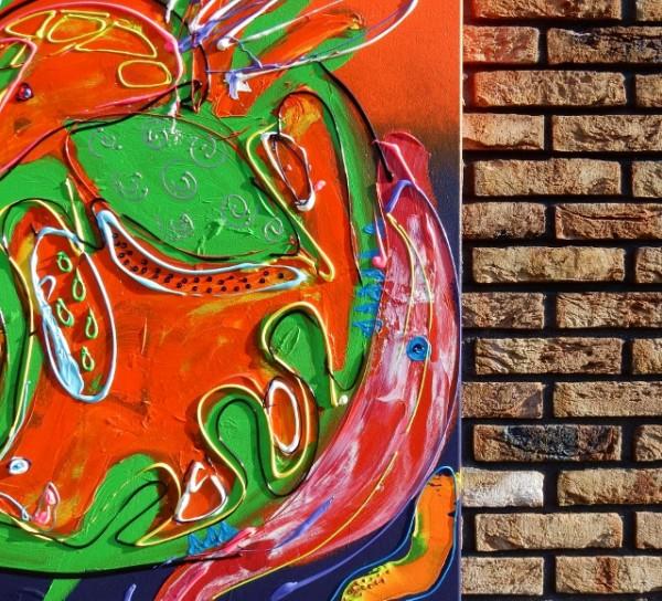 abstract, oranje, paars, vrolijk