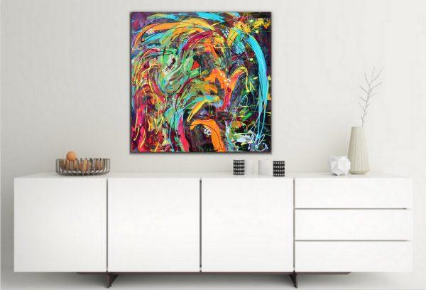 interieur, moderne kunst, kleurrijk schilderij, huis, wonen, groen, oranjeslaapkamer, keuken, woonkamer, kantoor, abstract, dieren