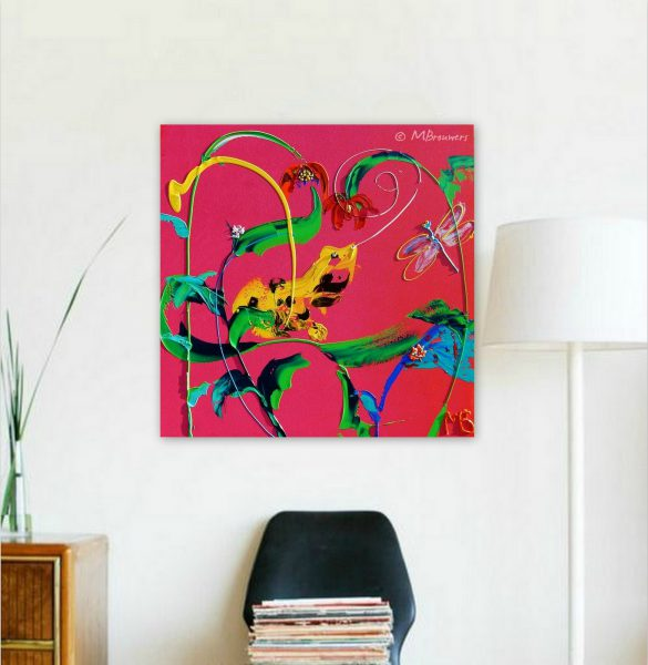 interieur, moderne kunst, kleurrijk schilderij, huis, wonen, roze, geel,slaapkamer, keuken, woonkamer, kantoor, abstract, dieren