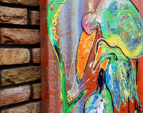 oranje, blauw, vogel, dieren, vrolijk schilderij, kunst, interieur, kantoor, huis, design