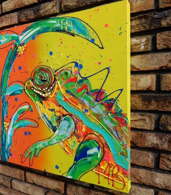 kameleon dieren schilderij kleurrijk kunst, moderne kunst, modern schilderij. wandversiering,