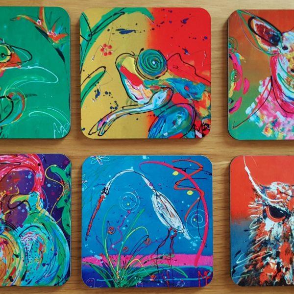 6 verschillende onderzetters met kunstafbeeldingen, vrolijke onderzetters, origineel cadeau, kleurrijk geschenk
