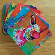 6 verschillende onderzetters met kunstafbeeldingen, kerstcadeau, vrolijke onderzetters, origineel cadeau, kleurrijk geschenk
