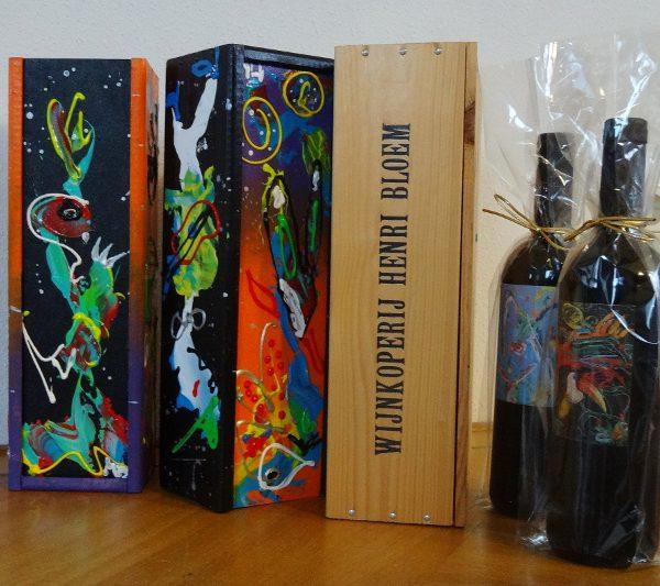 relatiegeschenk, cadeau, bijzonder geschenk, wijncadeau, wijnproeven, henri bloem, zwolle, abstracte kunst, kleurrijke cadeaus, vrolijk geschenk, origineel cadeau, kerstcadeau, feestdagen
