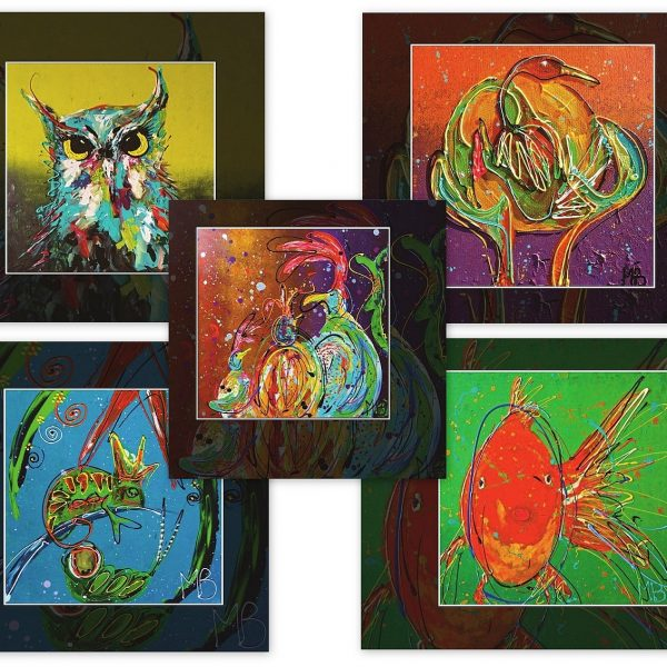 vrolijke wenskaarten vierkant, dierenkunst, kunst op kaarten, ansichtkaarten, luxe kaarten, kleurrijke cadeaus