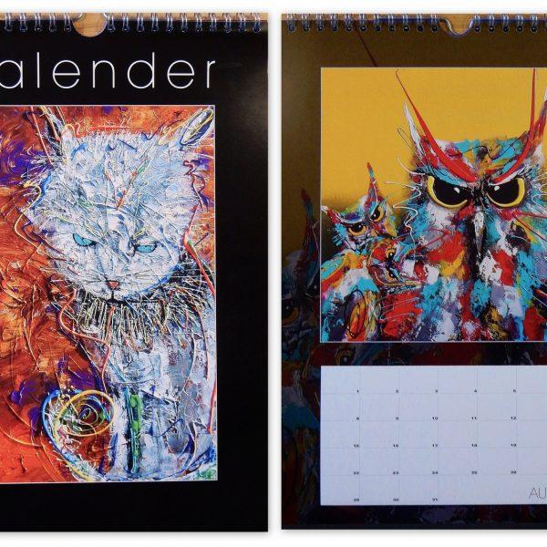 vrolijke verjaardagskalender, dierenkunst, kunst op kalender, luxe kalender, kleurrijke cadeaus