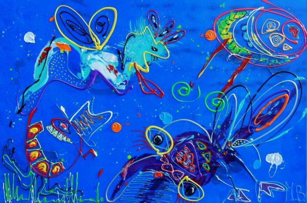 abstract schilderij, kunst, blauw, dieren, figuratief, kleurrijk, expositie