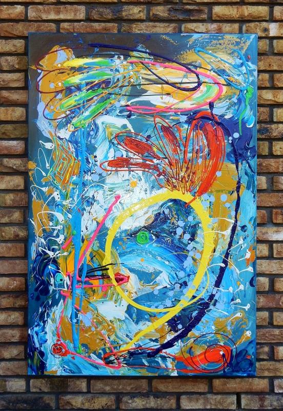 abstract, schilderij, blauw, kleurrijk, interieur, expositie, wonen, huis, keuken, kamer,
