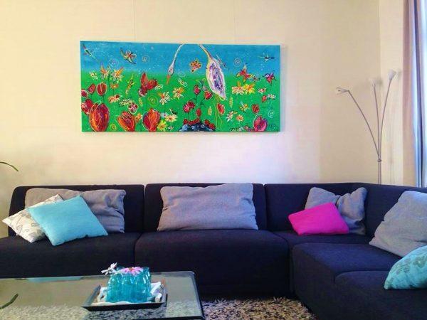 leurrijk, dieren, kunst, schilderij, vogel, vlinder, bloemen, natuur, blauw, groen, keuken, woonkamer, huis, interieur, wonen, stijlvol, 3d kunst, origineel, dieren