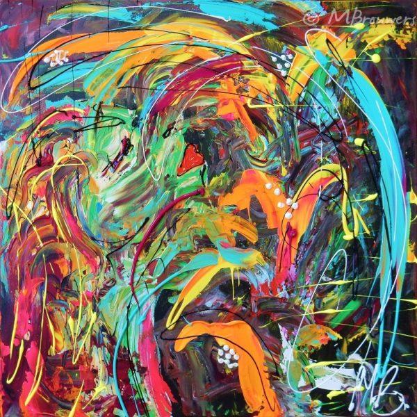 abstract, schilderij, modern, kleurrijk, oranje, groen, figuratief, interieur