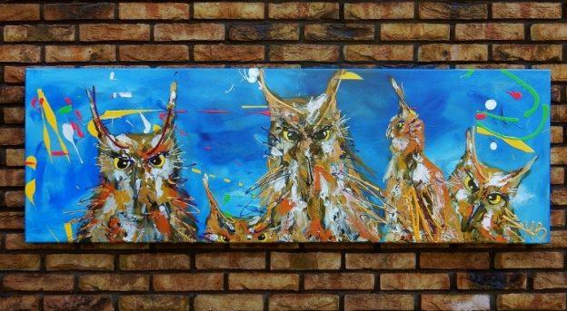 uilenschilderij, vrolijk schilderij, kleurrijke kunst, kunst uit zwolle, schilderij in opdracht