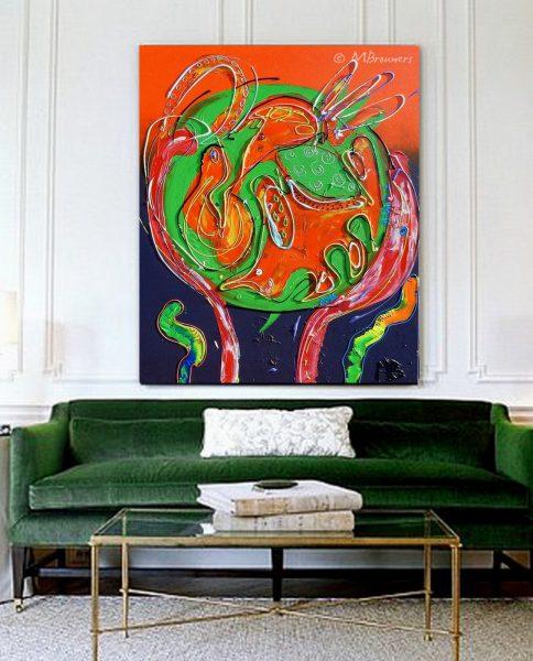 online galerie, kunst op kantoor, kantoorinrichting, wooninrichting, kunst in huis, schilderij in de woonkamer