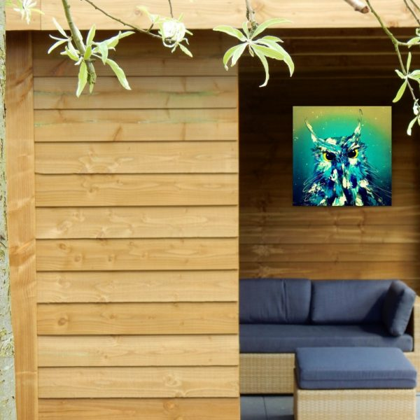 tuindecoratie, weerbestendig aluminium fotopaneel, tuindecoratie,tuinfoto, tuininrichting, tuinaccessoires, bloemenschilderij, bloemenprint, volumepaneel, weerbestendig fotoproduct, dibond, kunstafdruk uilenschilderij, kunstprint