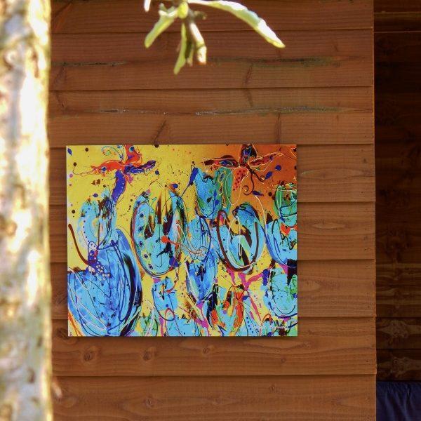 tuindecoratie, aluminium fotopaneel, tuinfoto, tuininrichting, tuinaccessoires, bloemenschilderij, bloemenprint, volumepaneel, weerbestendig fotoproduct, dibond, kunstafdruk