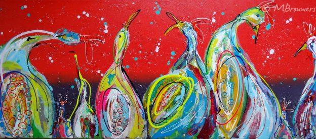 vrolijke kippen, kleurrijk schilderij, 3D schilderij, rood, opdracht, kippenschilderij, moderne kunst, schilderij in woonkamer