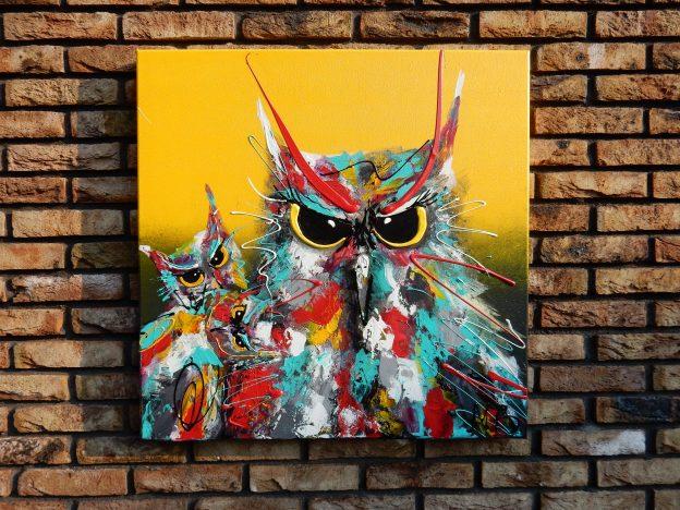 uilenschilderij, portret, interieur, geschenk, cadeau, familie