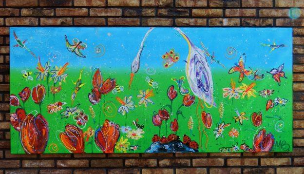 kleurrijke kunst, vrolijk schilderij, opdracht, bloemen, tulpen, vlinders, bloemen