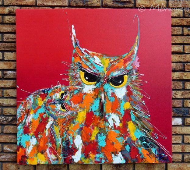 uilen, kleurrijk schilderij, vrolijke kunst, opdracht bedrijven