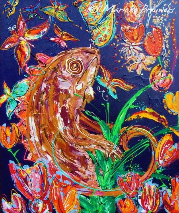 interieur, keuken, kleurrijke kunst, schilderij in opdracht, kameleon, bloemen, vlinders