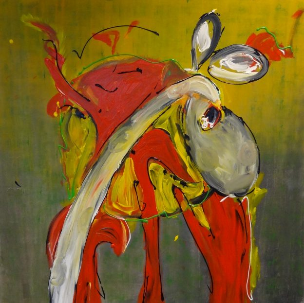 abstract schilderij, opdracht, kantoor, rood, geel, groen, moderne kunst, vrolijke kunst, interieur