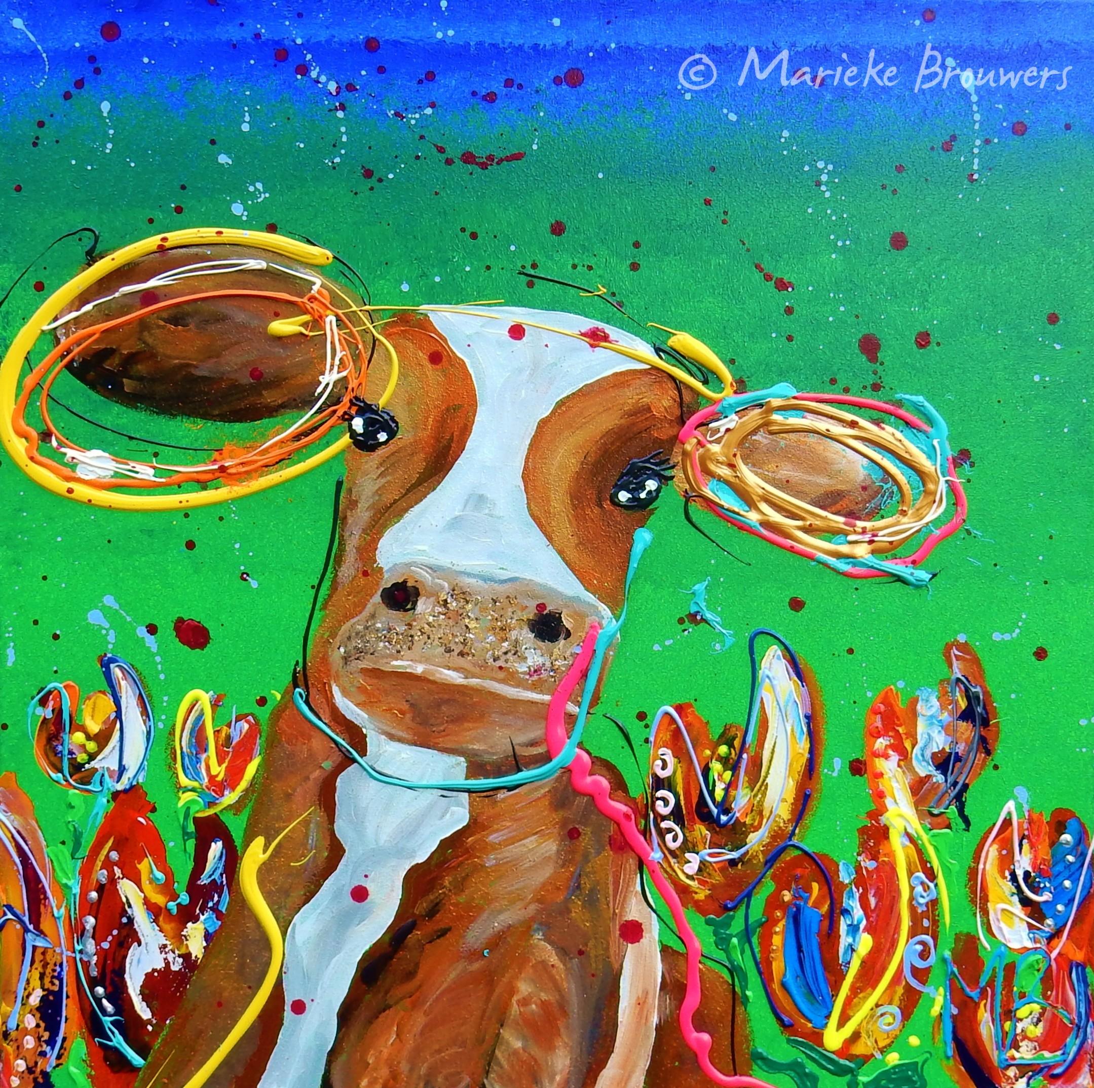 vrolijk koeienschilderij, kleurrijke kunst, wonen, interieur, kunst op kantoor, schilderij woonkamer, keuken, figuratief, abstract