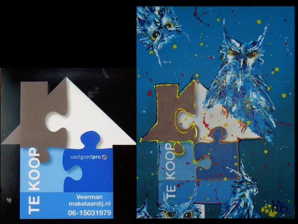 zakelijke opdracht, bedrijfslogo, relatiegeschenk, kleurrijke kantoorinrichting, vrolijk schilderij, origineel kunstwerk voor kantoor, interieur, kunstwerk in opdracht