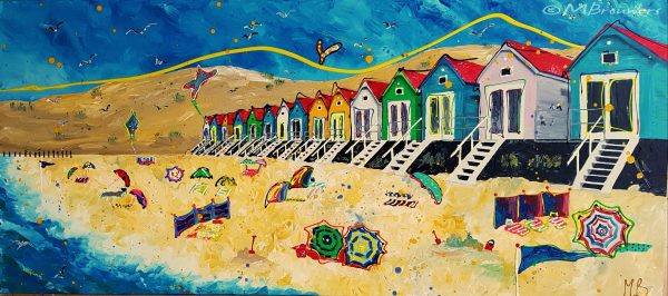 figuratief schilderij, schilderij in opdracht laten maken, kunst uit Zwolle, vrolijk schilderij, strand schilderij, kleurrijke kunst, 3D schilderij