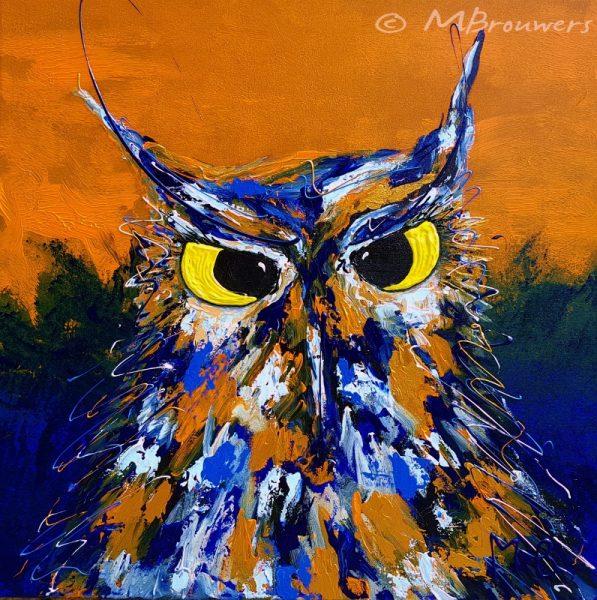 kleurrijk uilenschilderij, oranje schilderij, vrolijke kunst, schilderij voor kantoor, kunst in de keuken, schilderij woonkamer, nieuwbouw, inrichting, wonen, design, blauw schilderij, moderne kunst