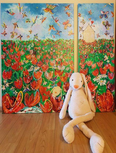 jubileum, feest, uitreiking, cadeau, bestuur, theater De Spiegel Zwolle, netwerk, ondernemen, zakelijk geschenk, bijzonder cadeau, vrolijke kunst, modern schilderij, persoonlijk cadeau
