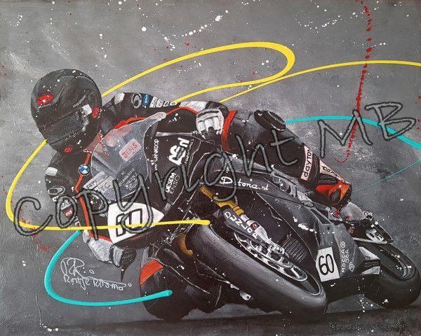 kunstwerk, realistisch schilderij, figuratieve kunst, motorschilderij, racesport, supercup, assen, circuit, tt assen, veiling, te koop, bijzonder kunstwerk