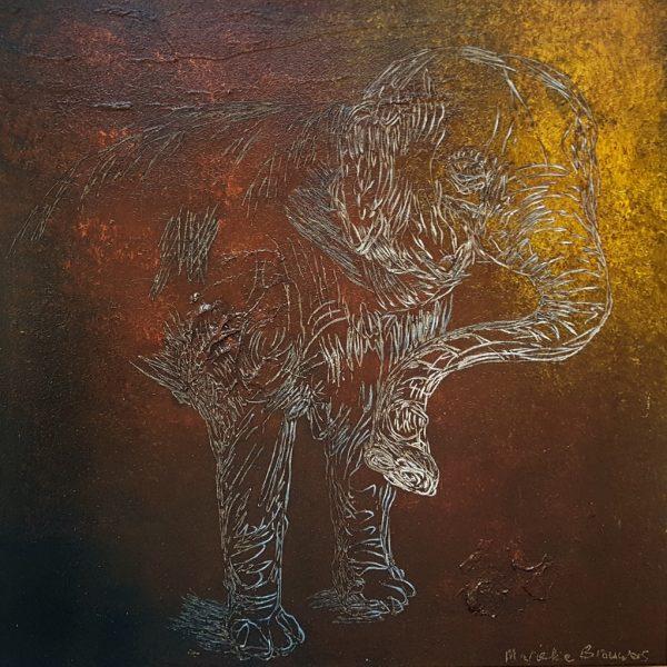 olifantenschilderij, figuratief schilderij, olifant, kleurrijke kunst, kunst op kantoor,kunst voor in huis, woonkamer, wonen, interieur, schilderij kopen