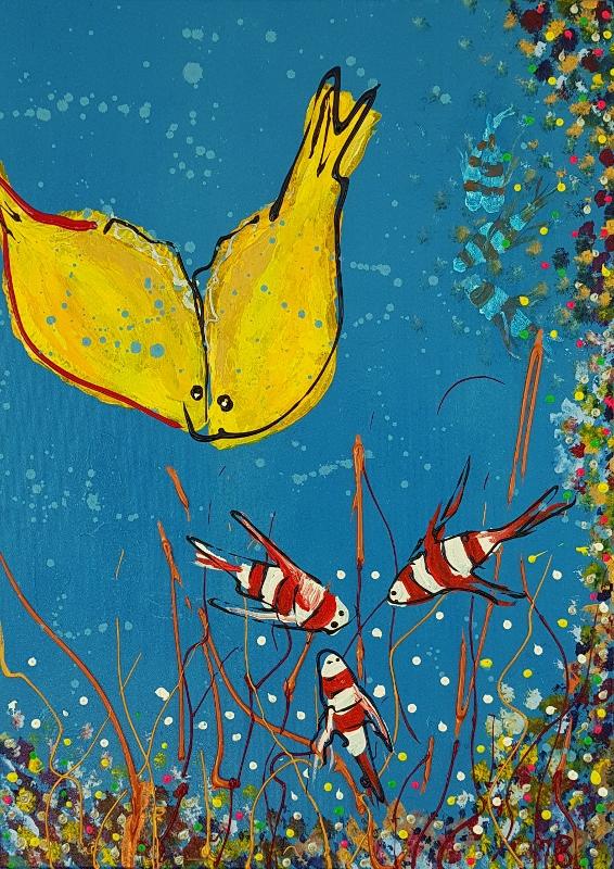 familieportret, kleurrijk schilderij, vrolijk schilderij, vissenschilderij, gezin, wonen, herinneringen