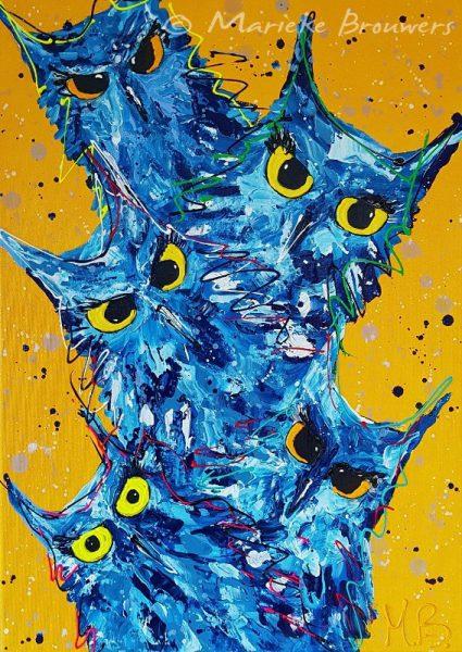 vrolijk dierenschilderij, kleurrijke kunst, zwolse kunst, vrolijk kunstwerk kopen, figuratieve kunst kopen, abstracte kunst, geel schilderij, blauw kunstwerk, dierenschilderij, schilderij laten maken, kunst in opdracht