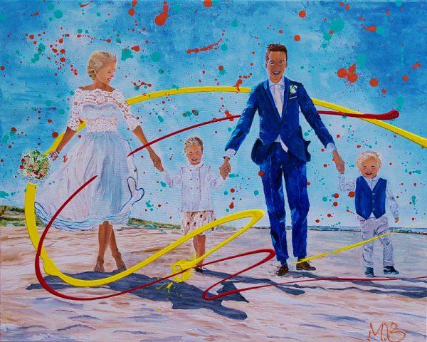 schilderij van je trouwdag, portret, kleurrijk schilderij, origineel kunstwerk, cadeau, geschenk, bijzondere herinnering, vrolijk kunstwerk, modern schilderij, figuratief portret, familie, feestdag, trouwdag, huwelijk, jubileum