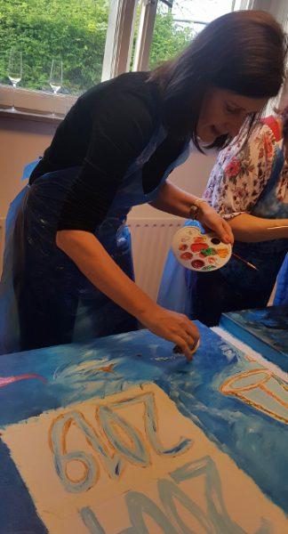 zakelijke workshop, creatieve workshop, creatieve teambuilding, samen schilderij maken, samen schilderen, werkuitje, creatief uitje, schilderworkshop, zwolle