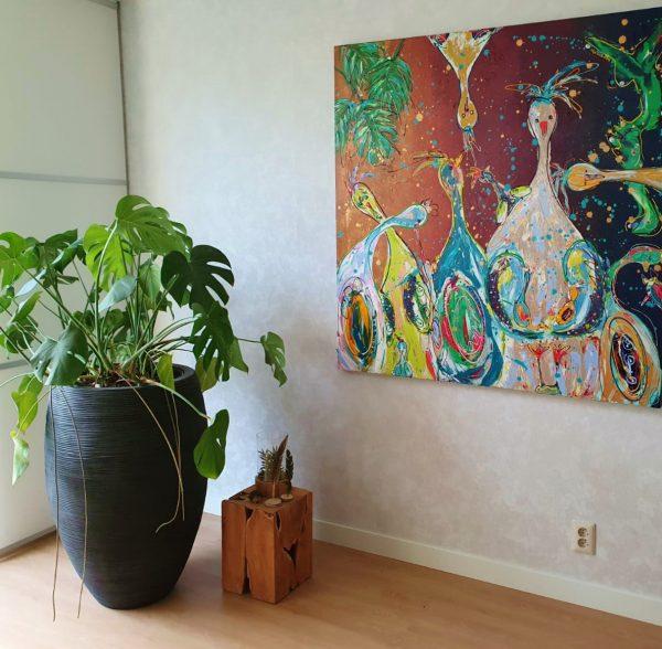 Schilderij in opdracht, Vrolijk kippenschilderij, kleurrijke kunst, kippenkunst, moderne kunst, interieur, keuken, woonkamer, Zwolle