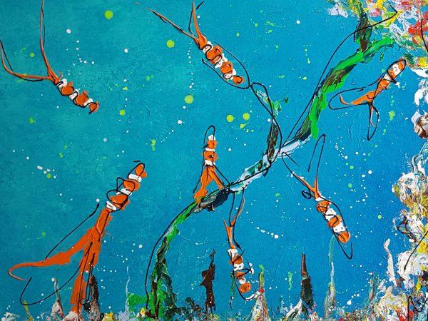 kleurrijk schilderij, vrolijke kunst, zwolse kunstenaar, kunst uit zwolle, vissenschilderij, moderne kunst