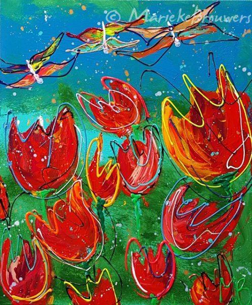 vrolijk bloemenschilderij, kleurrijk schilderij, vrolijk kunstwerk, moderne kunst, kunstwerk aan de muur, kunstwerk voor kantoor, kunst in de keuken, vrolijk schilderij, kunstwerk kopen, galerie zwolle