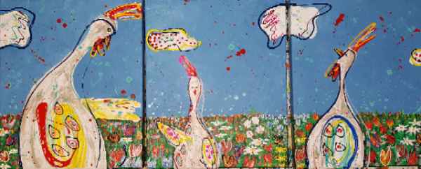 kippenschilderij, bloemenschilderij, vrolijk kunstwerk, portretschilderij, figuratieve kunst, moderne kunst, vrolijk schilderij, kleurrijke kunst, 3d schilderij, schilderij in opdracht laten maken