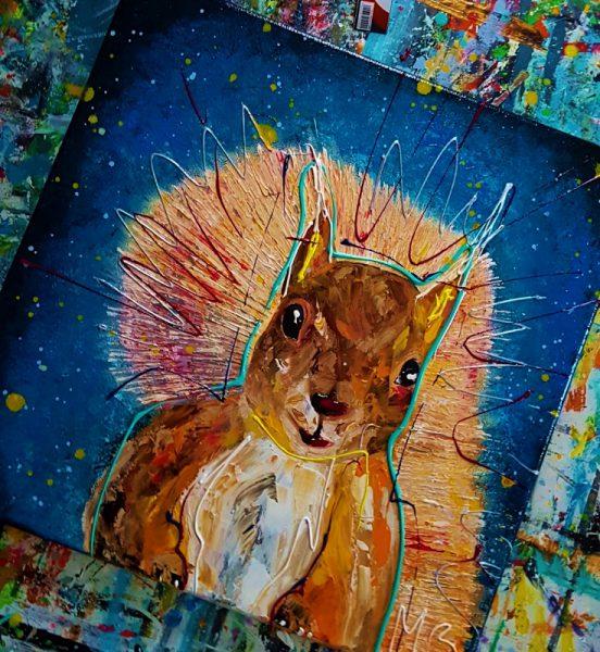, blauw schilderij, dierenschilderij, vrolijk kunstwerk, portretschilderij, figuratieve kunst, moderne kunst, vrolijk schilderij, kleurrijke kunst, 3d schilderij, schilderij in opdracht laten maken