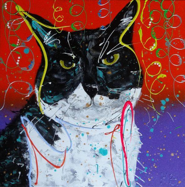 schilderij van je huisdier, portretschilderij, figuratieve kunst, moderne kunst, vrolijk schilderij, kleurrijke kunst, 3d schilderij, schilderij in opdracht laten maken