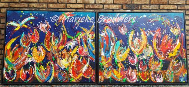 vrolijk bloemenschilderij, groot schilderij, schilderij van 2 meter, abstract tweeluik, kleurrijk schilderij voor op kantoor